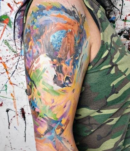 colorful horse tattoo